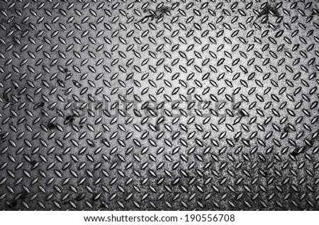 Black and white Diamond steel plate background / Diamond steel plate   - stock photo