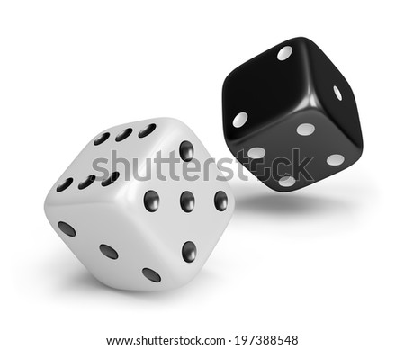 Black and white dice. 3d image. White background. - stock photo