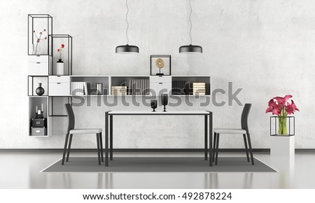Black and white dining room with bookcase on wall - 3d rendering