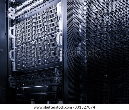 black and white disk array in the data center - stock photo