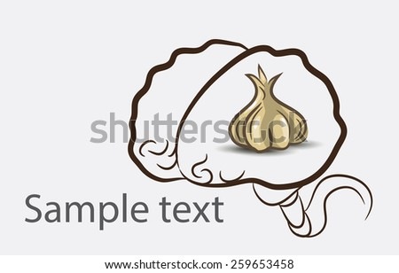 Black and white doodle brain background with garlic and place for sample text - stock photo