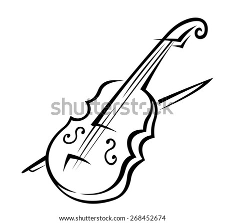 Black and white doodle sketch of a violin isolated on white background for music design - stock photo