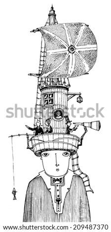 black and white drawing, a boy, a man, with a ship desk on his head, with a canvas, a rope ladder. the people on his head are sailing, fishing, looking through a spyglass/sailor-boy/digital - stock photo