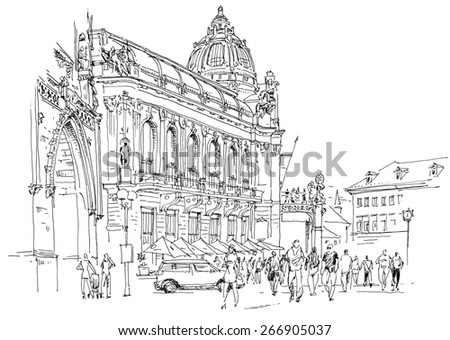 Black and white drawing Prague Municipal House. Modern style on sketchbook.