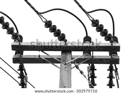Black and White Electric Power transmission lines - stock photo