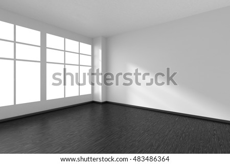 Black and white empty room with black hardwood parquet floor, big window and white walls and sunlight from window minimalist interior, 3d illustration