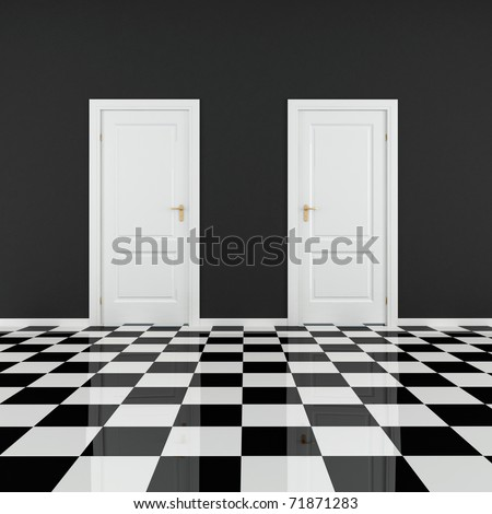 black and white empty room with two door and checkered floor - stock photo