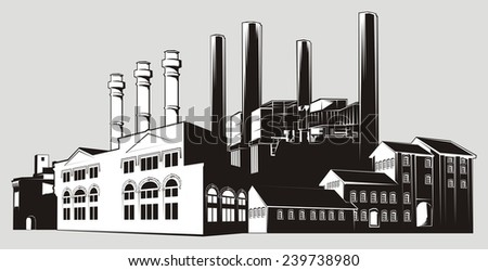 Black and white factory landscape with chimney stacks and various buildings. White-filled (not transparent) - transparent version also available. - stock photo