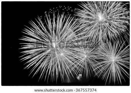 Black and white fireworks display. - stock photo