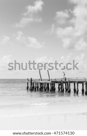 Black and White, fishing jetty over seacoast skyline, natural landscape background