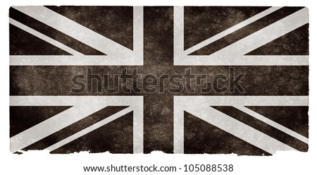 Black and white flag of the United Kingdom on grunge textured vintage paper - stock photo