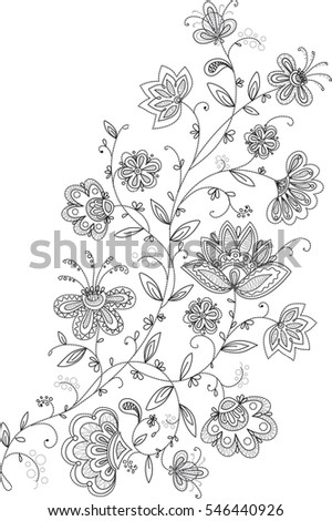 Black White Floral Embroidery Pattern Stock Illustration 546440926