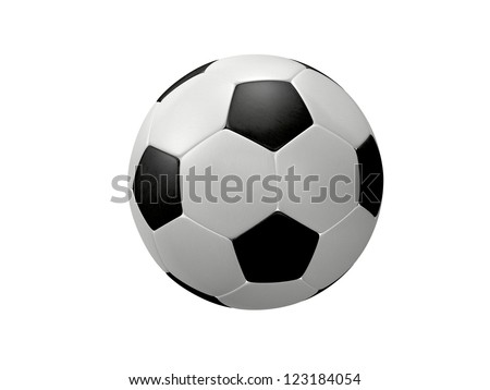 Black and white football, isolated on white background. - stock photo