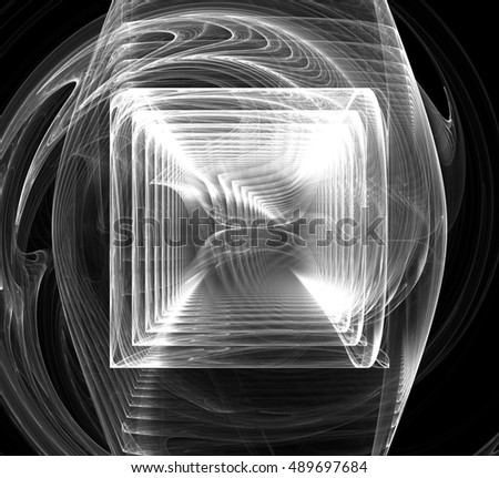 Black and white fractal abstract fractal art background. Decoration for wallpaper desktop, poster, cover booklet, card. Abstract fractal color texture.An abstract computer generated fractal design.