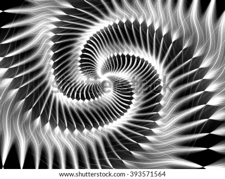 Black and white fractal.Abstract fractal. Fractal art background for creative design. Decoration for wallpaper desktop, poster, cover booklet. Psychedelic. Print for clothes, t-shirt. - stock photo