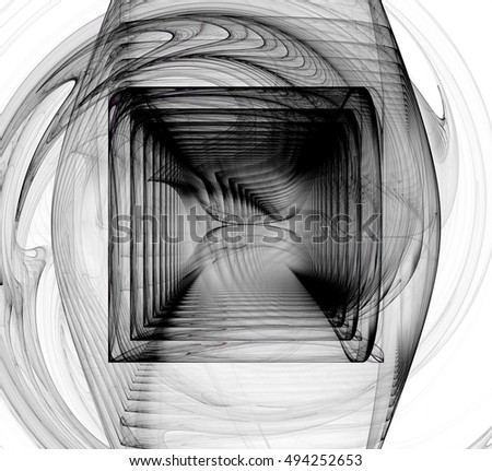 Black and white fractal abstract fractall art background. Decoration for wallpaper desktop, poster, cover booklet, card. Abstract fractal color texture.