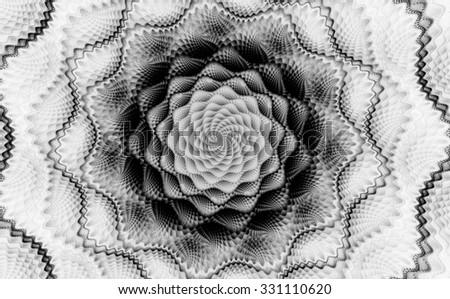 Black and white fractal. Abstract image.Fractal wallpaper on desktop. Digital artwork for creative graphic design.Fractal art.Psychedelic. Print for clothes, t-shirt. Decoration for poster, booklet. - stock photo