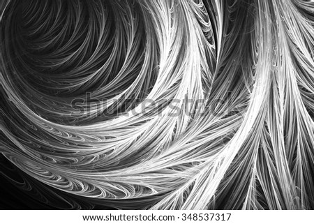 Black and white fractal. Fractal art background for creative design. Decoration for wallpaper desktop, poster, cover booklet. Abstract texture. Psychedelic. Print for clothes, t-shirt.