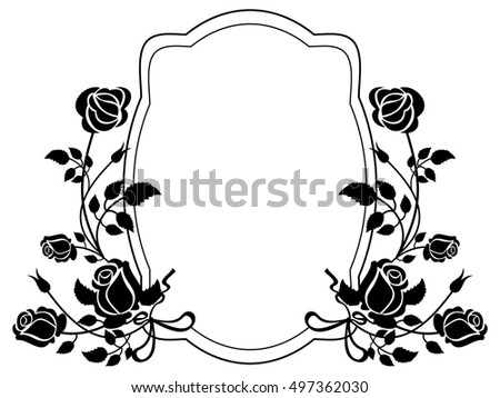 Black And White Frame With Roses Silhouettes Raster Clip Art