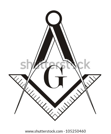 Black White Freemason Symbol Illustration On Stock Illustration