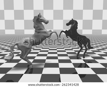 Black and white geometrical horse figurines on checkerboard background, fight abstract concept illustration. - stock photo