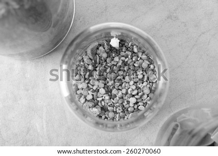 black and white, glass jar with seeds, corn, beans, pasta