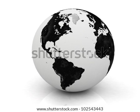 black and white globe 3D rendered