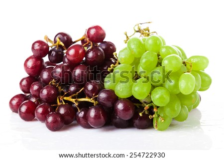 Black and white grapes isolated on white background - stock photo