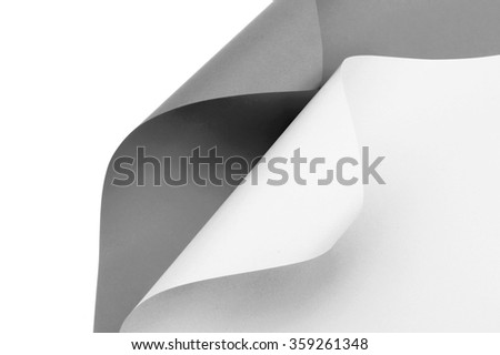 Black and white graphic abstract image of colorful origami pattern made of curved sheets of paper - stock photo