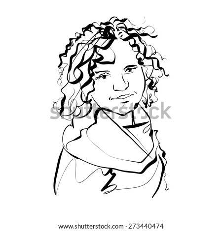 Black and white hand drawn illustration of a woman, girl with curly hair.