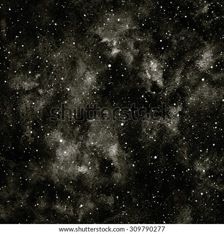 Black and white hand drawn watercolor night sky with stars. Monochrome cosmic background. Splash texture with black watercolour stains. Raster version.