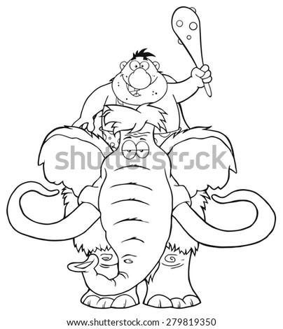 Black And White Happy Caveman Over Mammoth. Raster Illustration Isolated On White - stock photo