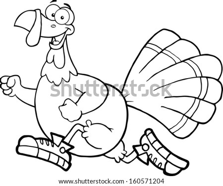 Black and White Happy Turkey Bird Cartoon Character Jogging. Raster Illustration