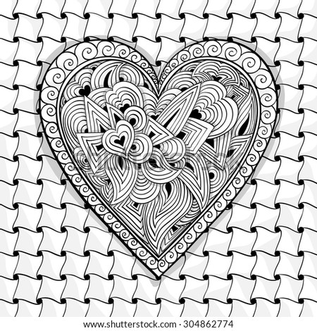 black and white heart pattern of flowers, spirals, swirls, doodles - stock photo