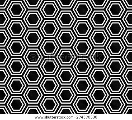 Black and White Hexagon Tile Pattern Repeat Background that is seamless and repeats - stock photo