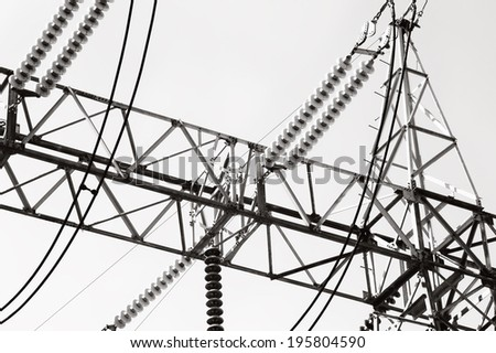 Black and white high voltage insulator on power plant /High voltage insulator  - stock photo