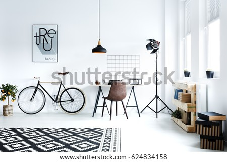 Black And White Hipster Room With Bicycle Desk Pattern Carpet