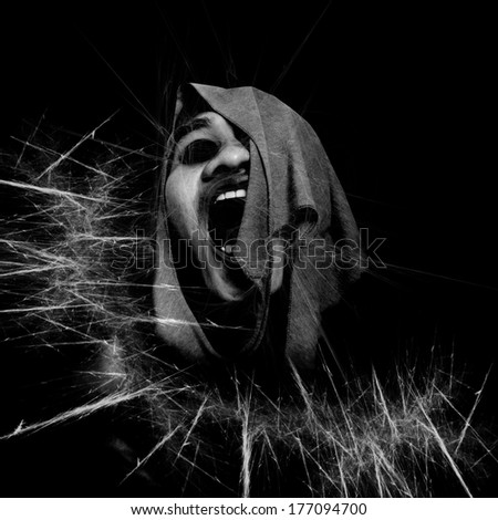 Black And White Horror Background For Wallpaper Or Movies Poster Project  - stock photo