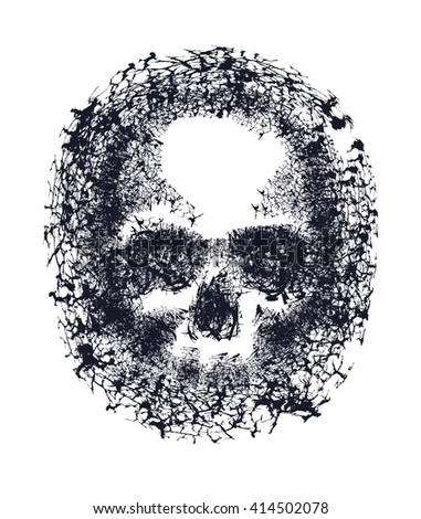 Black and white human skull. Hand drawn. Jpeg version - stock photo