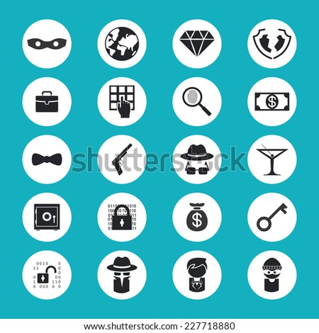 Black and White Illegal Activities Icons Isolated on Blue Green Background - stock photo