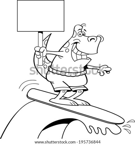 Black and white illustration of a dinosaur surfing and holding a sign.