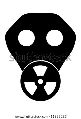 Black and white illustration of a gas mask with the toxic symbol displayed on the filter - stock photo