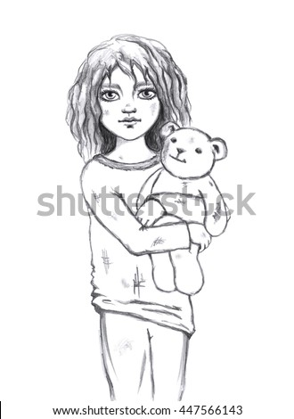 Child Holding Teddy Bear Stock Images, Royalty-Free Images ...Little Girl With Teddy Bear Black And White