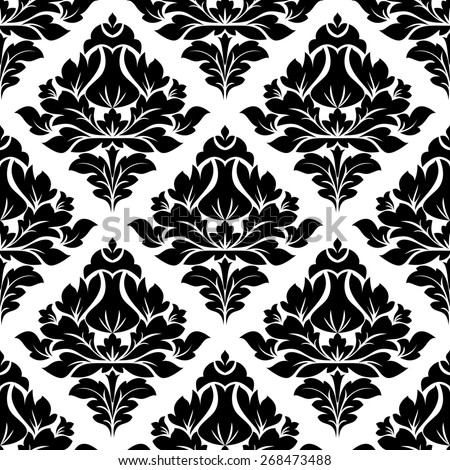 Black and white illustration of a seamless repeat floral arabesque pattern with a diamond shaped motif in square format suitable for textiles - stock photo