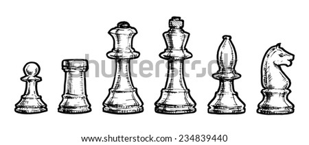black and white illustration of chess stylized as engraving - stock photo