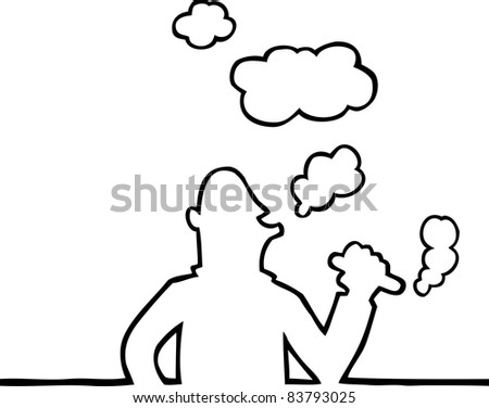 Black and white illustration of person smoking a thick cigar.