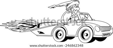 Black and white illustration of Santa Claus driving car - stock photo