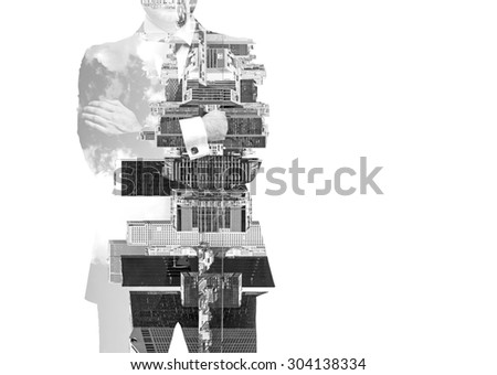 black and white ImagAbstract black and white Image of transparent businessman's Silhouettes. New York cityscape. Isolated.e of transparent businessman's Silhouettes. New York cityscape. Isolated. - stock photo