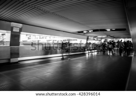 Black and White Image - Blurred Crowded City People