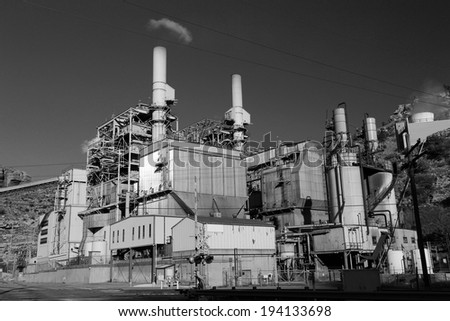Black and white image of a carbon power plant, Utah, USA. - stock photo